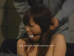Asian, Farm, Orgasm, A slave licks cum
