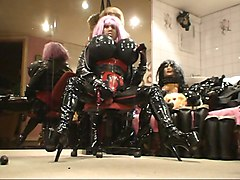 Rubber, Doll, Big Tits, Female latex piss pants mask