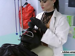 Rubber, Gyno, Slave, Gay rubber slave cum in mouth