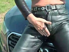 Leather, Masturbation, Jerking, Leather thai ladyboy