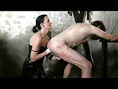 Slave, Fisting, Femdom fisting sissy slave on stage