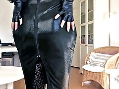 Black, Leather, Dress