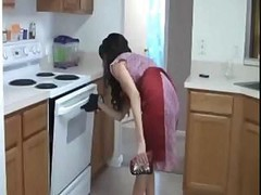 Handjob, Kitchen, Milf, Stockings handjob