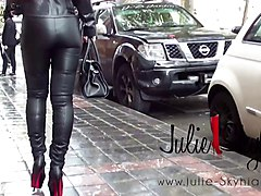 Boots, Leather, Slave, Leather and satin