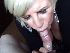 Granny, Blonde, Blowjob, Amateur blonde milf blowjob