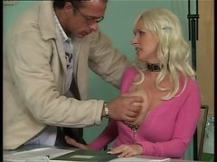 Bus, Office, German, Office lady getting her small tit