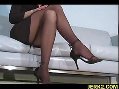 Office, Stockings, Girle punish girle with strapon in office