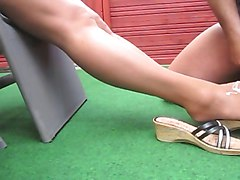 Footjob, Stockings, Nylon, Footjobs machine