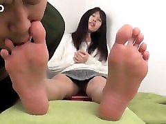 Asian, Fetish, Slave, Pantyhose foot slave