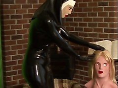 Rubber, Nun, Mask, Latex rubber dominatrix