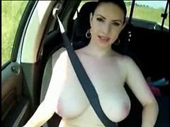 Car, Flashing, Big Tits, Czech car