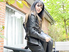 Smoking, Leather, Kissing, Fingering femdom