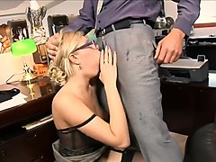 Secretary, Busty blonde secretary blowjob