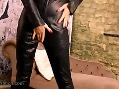 Babe, Leather, Tight, Woman leather coat