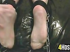 Massage, Slave, Ass, Lesbian foot slave tied up