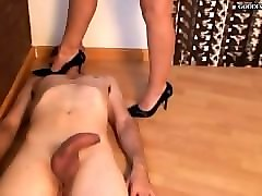 Black, Hotlegs high heel cock and ball trample