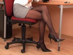 Black, Panties, Pantyhose, Secretary abuse