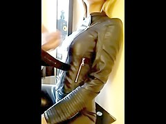 Blonde, Leather, Cumshot, Smoking leather
