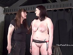 Chubby, Lesbian, Slave, First time lesbian slave