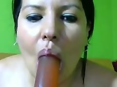 Deepthroat, Dildo, Asian rubbing pussy on dildo and rides dildo