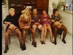 Granny, German, Orgy, Group orgy in latex