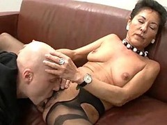 Granny, Hairy, Black, Granny surprised by her in law
