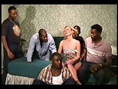 Blonde, Gangbang, Hairy flat chested blonde gangbang