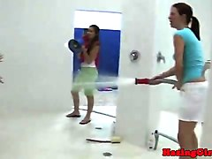 College, Teen, Shower, Girls humiliate girls