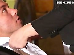 Secretary, Brunettes secretary swallows bosses creampie