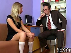 Blonde, Teen, Sex anal teacher glasses by two student