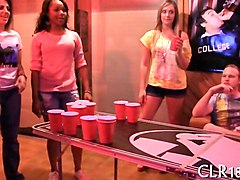 Game, College, Party, Lesbian girls play game loser strips
