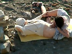 Couple, Beach, Voyeur, Home orgasm couple