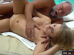 Blonde, Grandpa, Massage, Gives hot massage