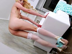 Blonde, Ass, Tranny gets double