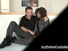 Ebony, Husband, Cuckold, Naughty creampie