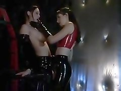 Latex, Lesbian, Slave, Lesbian slave submishen as lick your master
