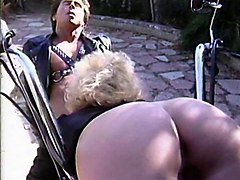 Blonde, Ass, Lingerie, Masturbation outdoor