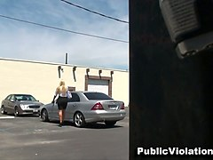 Blonde, Ass, Milf, Jacking off strangers in the car