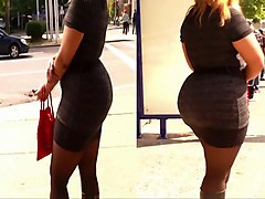 Dress, Tight, Jiggly spandex booty candid walking