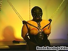 Bondage, Fetish, Leather, Brunette slave in bondage extrem pussy whipping.