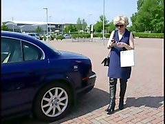 Boots, Public, Milf, Car blowjob in mouth creampie