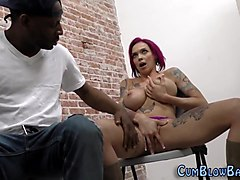 Black, Facial, White girl works a giant black dick for a facial