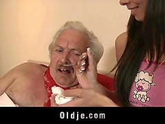 Grandpa, Mature women with young girl