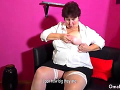Granny, Toys, Solo women masterbating with clothges on