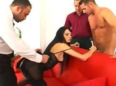 Swallow, Ebony interracial gangbang cum swallowing