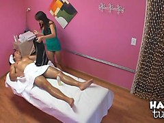 Massage, Ass, Busty japanese girl massaging his cock with heel