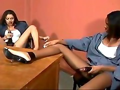 Ebony, Strapon, 1 guy 2 girls with strapons