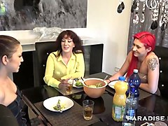 Lesbian, Old And Young, Threesome, Matures and young girl lesbian