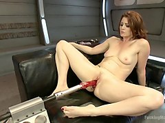 Orgasm, Ass, Machine, Sex with a bandage in the face of