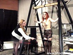 Amateur, Needle, Lesbian, Lesbian bdsm with strapon and fingering